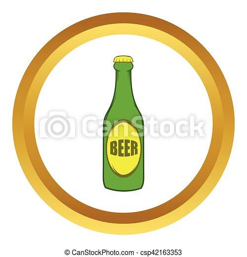 Stile Birra Vettore Verde Bottiglia Icona Cartone Animato