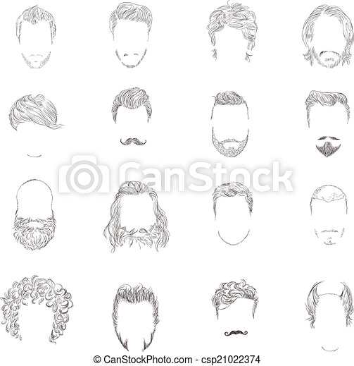 stile capelli, set, uomo - csp21022374