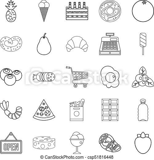 stile, carne, icone, set, sezione, contorno - csp51816448