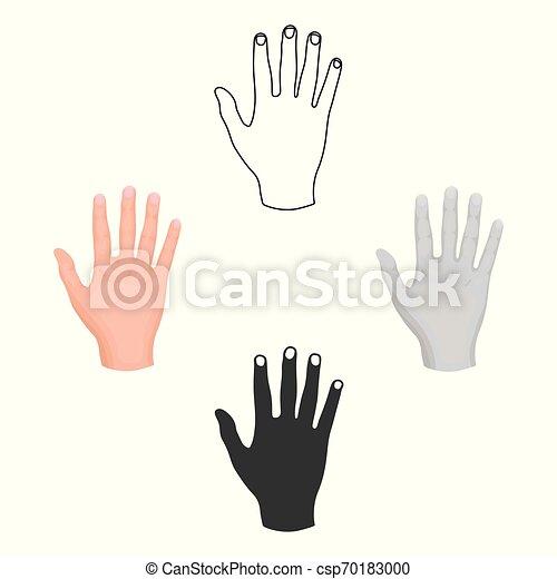 stile, casato, simbolo, cartone animato, nero, mano, isolato, alto, icona, vettore, cinque, fondo., illustration., gesti, bianco - csp70183000