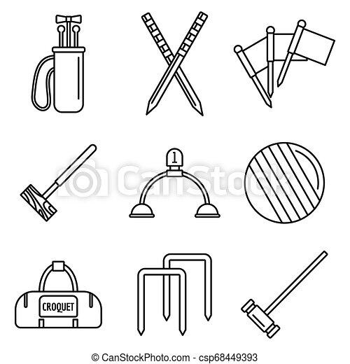 stile, contorno, icone, set, apparecchiatura, croquet - csp68449393