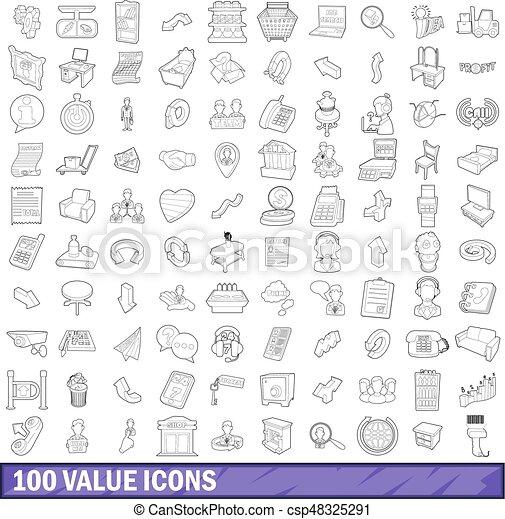 stile, contorno, icone, set, valore, 100 - csp48325291