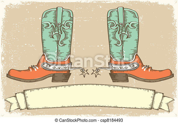 stile, cowboy, testo, stivali, .vintage, rotolo - csp8184493