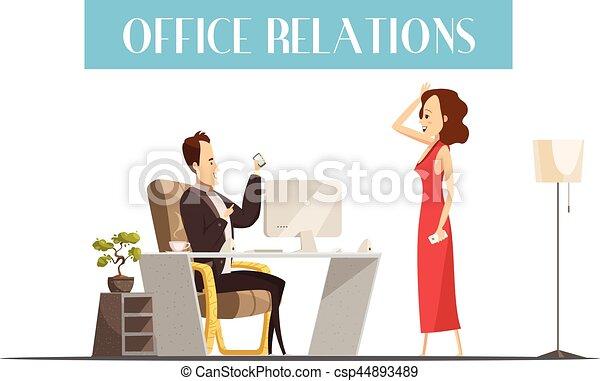 Capo Ufficio Disegno : Stile disegno ufficio relazioni cartone animato. stile donna
