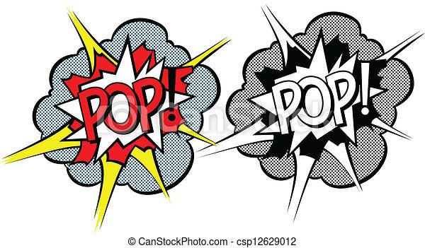 stile, esplosione, cartone animato, pop-art - csp12629012