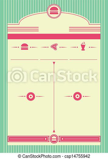stile, fondo, 1950s, cornice, commensale - csp14755942