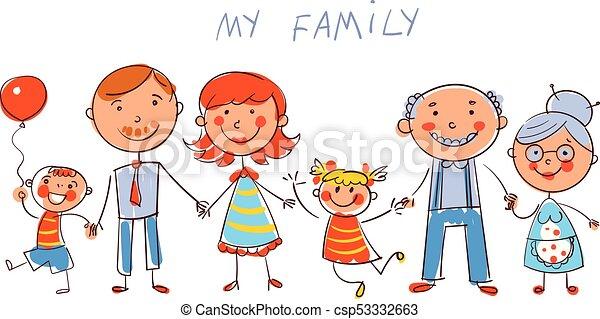 Stile Grande Bambini Disegni Family Felice