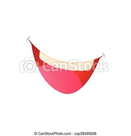 Stile icona bocca sorridente cartone animato. stile icona