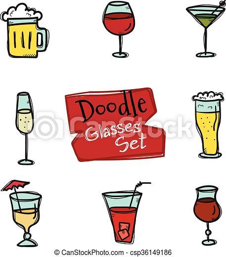 stile, icone, scarabocchiare, set., collezione, mano, vettore, disegnato, occhiali, bibite - csp36149186