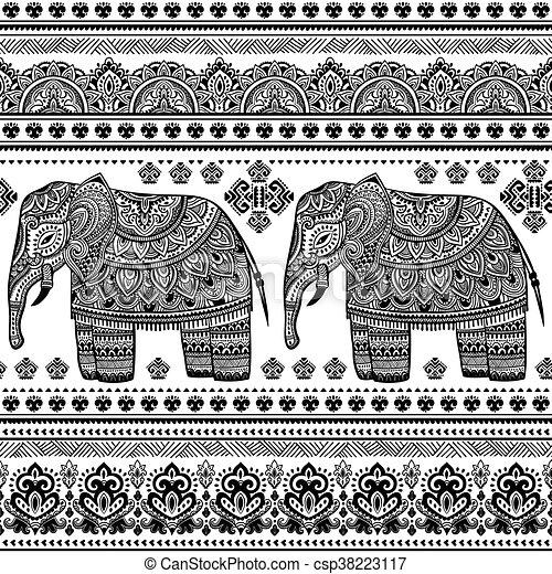 Stile modello etnico seamless elefante indiano boemo for Piani di casa in stile west indian