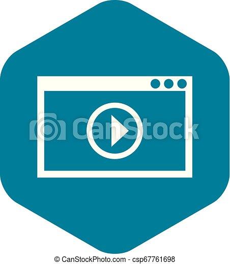 stile, semplice, playback, programma, video, icona - csp67761698
