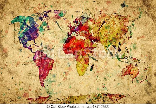 stile, vecchio, colorito, vendemmia, paper., map., grunge, retro, vernice, acquarello, mondo, espressione - csp13742583