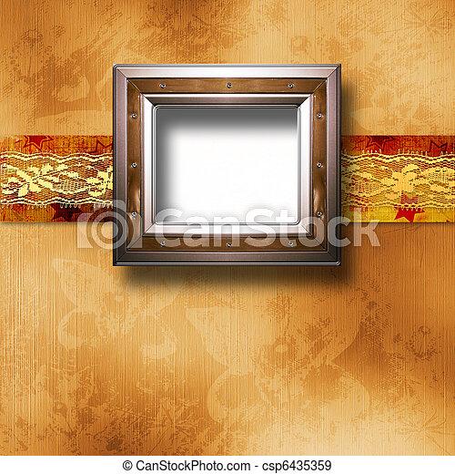 stile, vecchio, stanza, parete oro, cornice, vittoriano - csp6435359