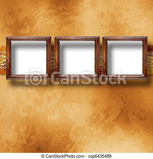 stile, vecchio, stanza, parete oro, vittoriano, cornici - csp6435488