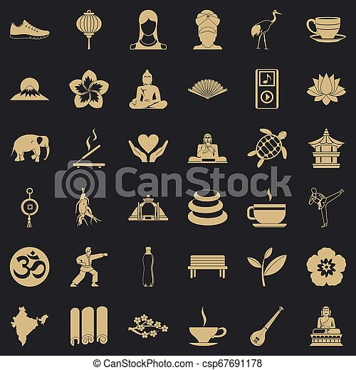 stile, yoga, icone, set, semplice, rilassamento - csp67691178