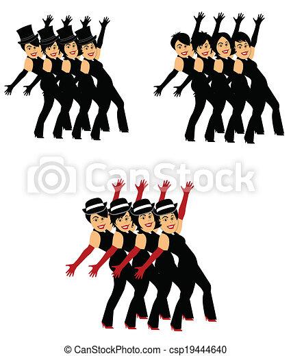 stili, coro, 3, ballerini, linea - csp19444640
