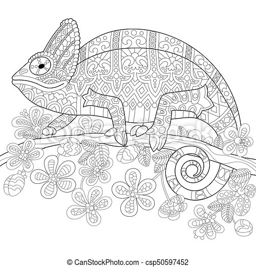 Stilisiert, eidechse, zentangle, chamäleon. Stilisiert,... Clipart ...