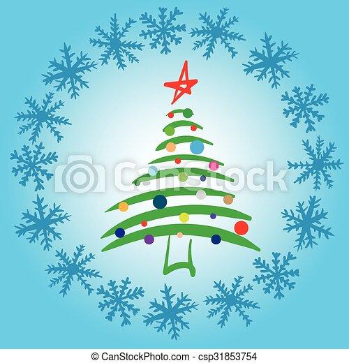 Tannenbaum Mit Schneefall.Stilisiert Elegant Tannenbaum Schnee