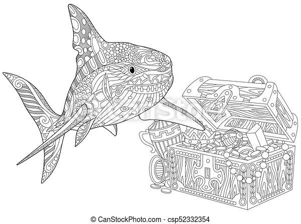 Stilisiert, hai, zentangle. Underwater, hai, färbung,... Clipart ...