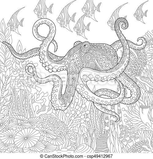 Stilisiert, oktopus, zentangle. Underwater, skizze, fische, koralle ...