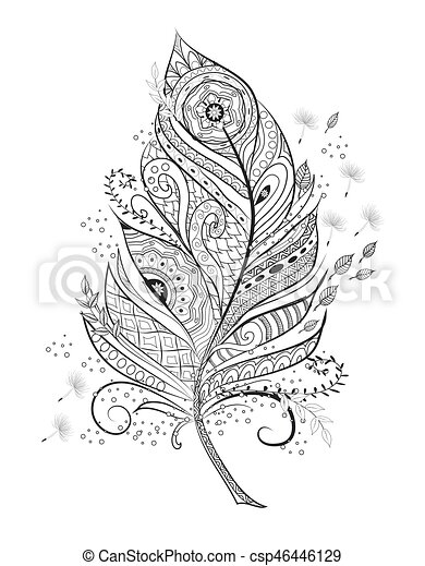 Stilisiert, page., feder, färbung. Page., dekorativ,... Vektor ...