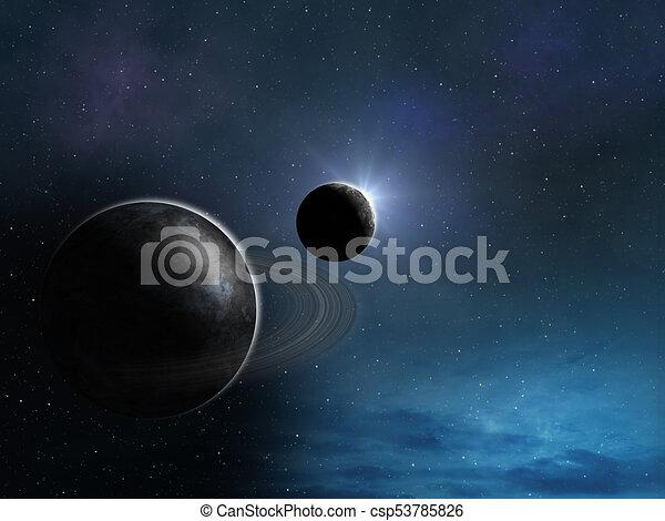 stilisiert, planeten, hintergrund, raum - csp53785826