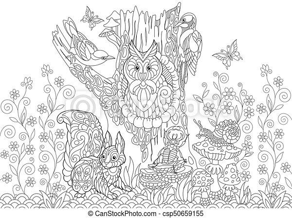 Stilisiert Tiere Wald Zentangle Schnecke Eichhörnchen