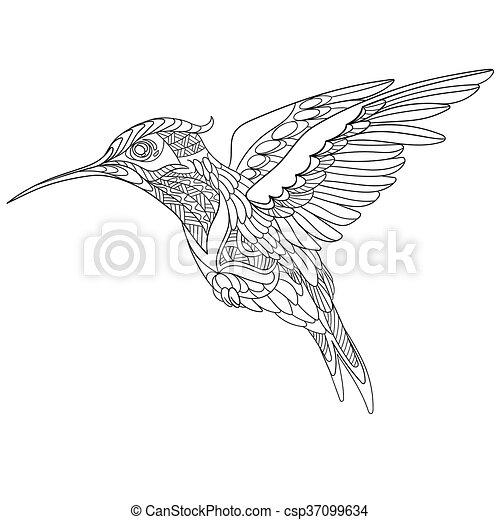 Stilisiert, vogel, kolibri. Skizze, färbung, elements.,... Vektoren ...
