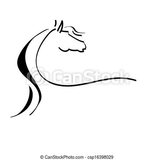 stilisiertes pferd, zeichnung - csp16398029