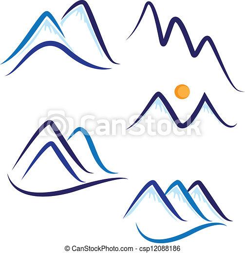stilizált, hegyek, állhatatos, hó, jel - csp12088186