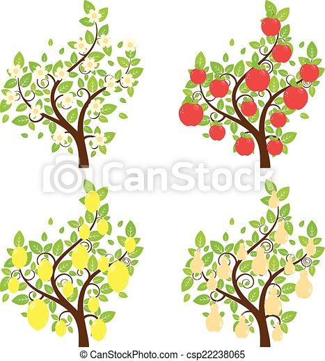 Stilizzato Alberi Frutta Set Limone Alberi Mela Pera