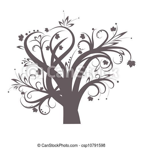 Stilizzato Albero Stilizzato Foglie Albero Disegno Illustrazione