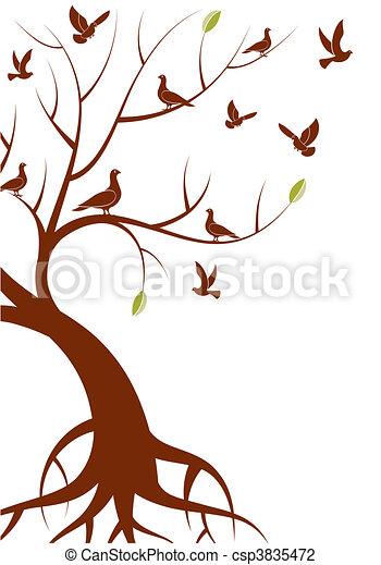 Stilizzato Albero Uccello Albero Illustrazione Stilizzato