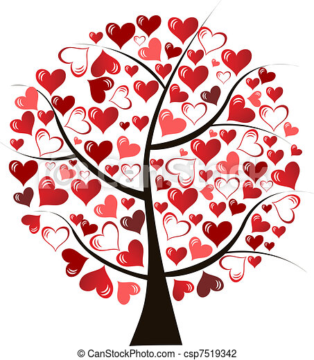 Stilizzato Amore Albero Illustrazione Fatto Amore Albero