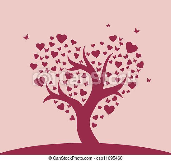 Stilizzato Amore Albero Stilizzato Albero Vettore Amore