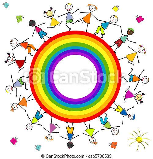 Stilizzato arcobaleno bambini intorno for Arcobaleno da colorare per bambini
