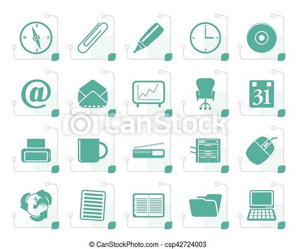 Stilizzato attrezzi icone ufficio set icone ufficio for Attrezzi per ufficio