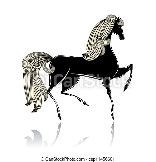 Stilizzato bello cavallo nero for Disegno cavallo stilizzato