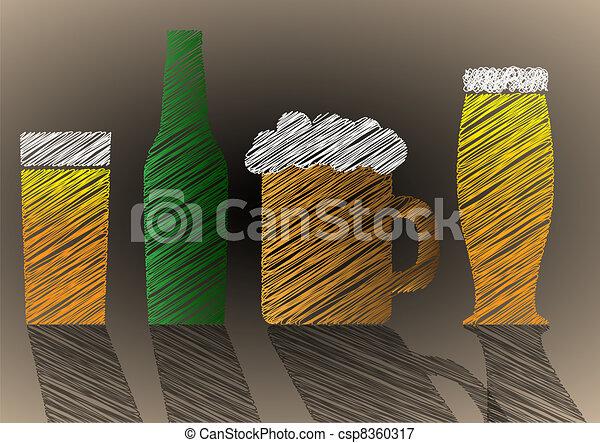 stilizzato, birra, scarabocchio - csp8360317