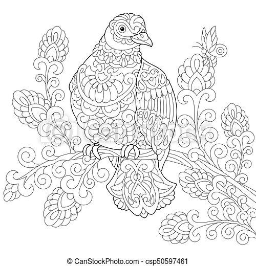 Stilizzato Colomba Uccello Zentangle