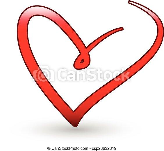 Stilizzato Cuore Amore Logotipo Stilizzato Cuore Vettore