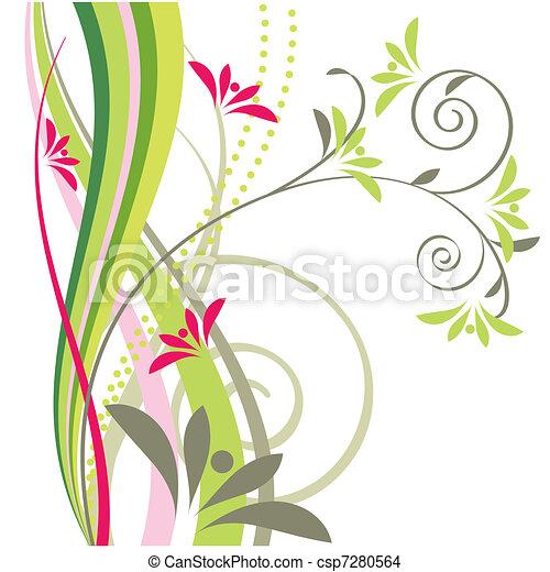 Stilizzato Disegno Floreale Elemento Turbini Elemento
