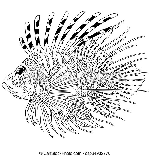 stilizzato, fish, zentangle - csp34932770