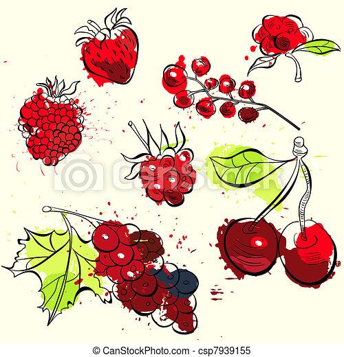 Stilizzato frutta illustrazione bacche for Clipart frutta