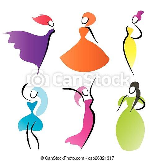 Conosciuto Stilizzato, moda, silhouette, simboli, vettore, donne clip art  JT32