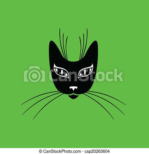 Stilizzato Muso Gatto Muso Gatto Stilizzato Sfondo Verde Icona