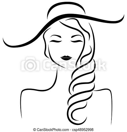 Stilizzato Ritratto Astratto Cappello Ragazza Begli Occhi