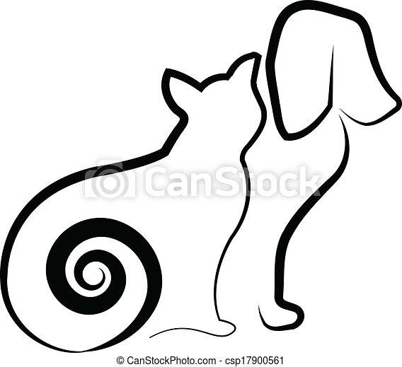 Stilizzato Silhouette Cane Gatto Stilizzato Silhouette Vettore
