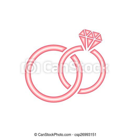 Ben noto Stilizzato, vettore, anelli, rosso, matrimonio. Anelli, vettore  QS54