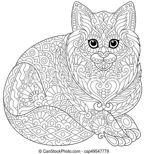 Stilizzato Zentangle Gatto Schizzo Coloritura Kitten Gatto